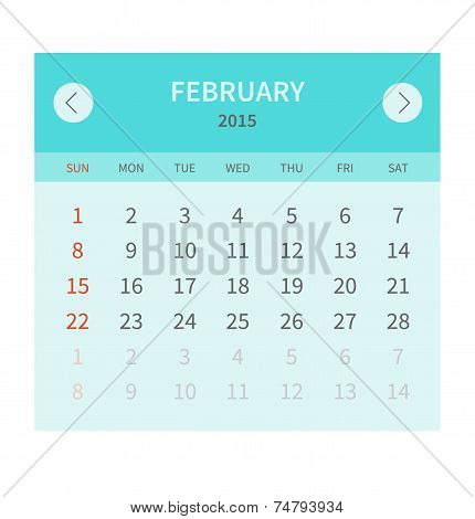 Calendar monthly fabruary 2015 in flat design