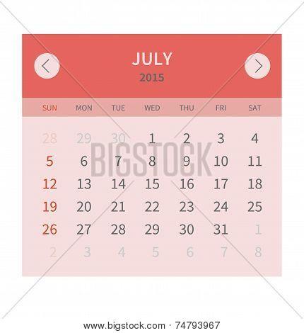 Calendar monthly july 2015 in flat design