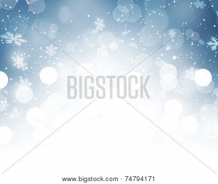 Christmas Background. Winter Holiday Snow Blue Background with snowflakes and stars. Christmas Abstract Defocused Blurred Glowing Backdrop. Elegant Bokeh