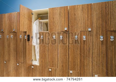Bathrobe In The Closet In The Locker Room Spa Center