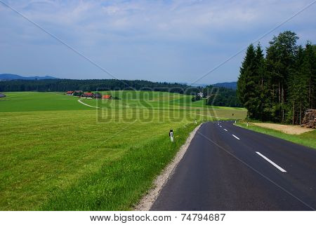 Green bavarian summer landscape.
