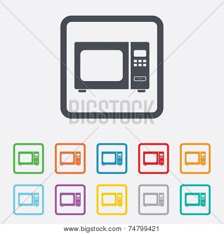 Microwave oven sign icon. Kitchen electric stove