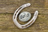 stock photo of talisman  - horseshoe as talisman for success at new year 2015 - JPG
