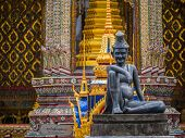 picture of hermit  - statue of hermit located in front of temple - JPG