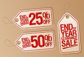 picture of year end sale  - End of year clearance sale vector labels set - JPG