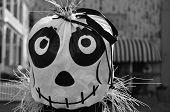 foto of scarecrow  - A zombie scarecrow decorates a town street for Halloween  - JPG