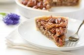 stock photo of pecan  - A Pecan pie slice without whipped cream