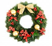 stock photo of spike  - Christmas decorative wreath with leafs of mistletoe isolated on white - JPG