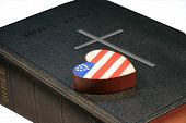 picture of christian cross  - Patriotic wooden heart on black bible with cross