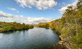 stock photo of virginia  - View of the James River as it passes through the Blue Ridge Mountains of Virginia - JPG