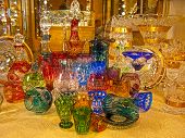 image of bohemian  - Counter with bohemian glass in Prague city  - JPG