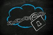 stock photo of ebusiness  - data security on cloud computing cloud and security lock and chain - JPG