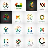 Abstract company logo vector collection - 16 modern various business corporate web logotypes poster