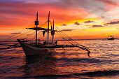 picture of boracay  - sail boat at sunset sea - JPG