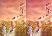 foto of say goodbye  - Illustration of a little girl saying goodbye to her loving pets and family which is going to heaven - JPG