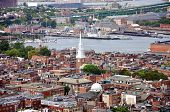 stock photo of paul revere  - Aerial view of Boston North End - JPG