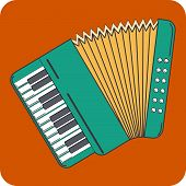 stock photo of accordion  - Vector Icon of Accordion in flat style