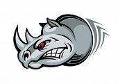 pic of rhino  - Wild angry rhino for mascot design - JPG