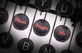 stock photo of forgiveness  - Typewriter with special buttons please forgive me - JPG