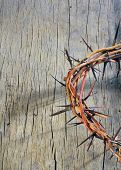 stock photo of covenant  - crown of thorns on old wooden background - JPG
