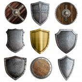foto of crusader  - Medieval shields or badges set isolated on white - JPG