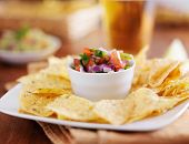 stock photo of poblano  - mexican pico de gallo with tortilla chips and beer - JPG