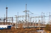 pic of substation  - Power transformer in substation  against  blue sky - JPG