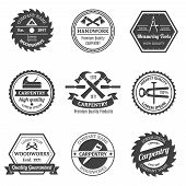 picture of chisel  - Carpentry woodworks handwork premium high quality measuring tools emblems set isolated vector illustration - JPG
