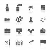 stock photo of debate  - Elections and voting black icons set with rating debate megaphone isolated vector illustration - JPG