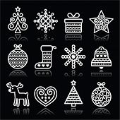 picture of rudolf  - Vector icons set for celebrating Xmas isolated on black - JPG