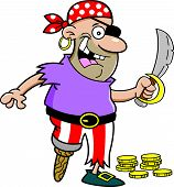 pic of peg-leg  - Cartoon illustration of a smiling pirate with a peg leg holding a sword - JPG