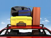 foto of car carrier  - trip with car packed with luggage and ski on top of the roof - JPG
