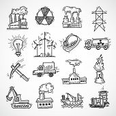 image of solar battery  - Industrial sketch icon set with oil fuel electricity and energy industry symbols isolated vector illustration - JPG