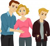 image of pre-adolescents  - Illustration Featuring a Mother Introducing Her Son to His Stepfather - JPG
