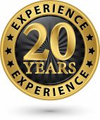 image of experiments  - 20 years experience gold label vector illustration - JPG