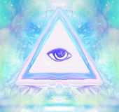 stock photo of freemason  - All seeing eye on abstract landscape  - JPG