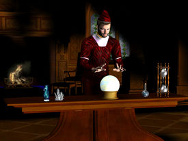 picture of witch-doctor  - A magician sees a prophecy in his crystal ball - JPG