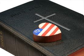 foto of christian cross  - Patriotic wooden heart on black bible with cross  - JPG