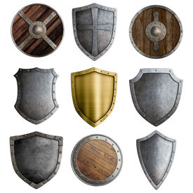stock photo of shield  - Medieval shields or badges set isolated on white - JPG