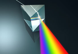 stock photo of prism  - 3D render of a prism and its dispersion of light into colors - JPG
