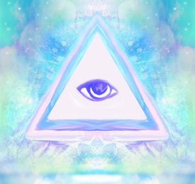 picture of freemasons  - All seeing eye on abstract landscape  - JPG
