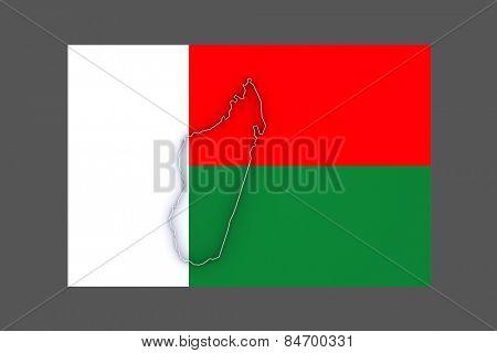 Map of Madagascar. 3d