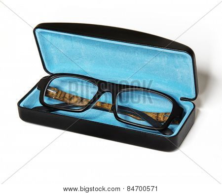 Glasses in a case isolated on white