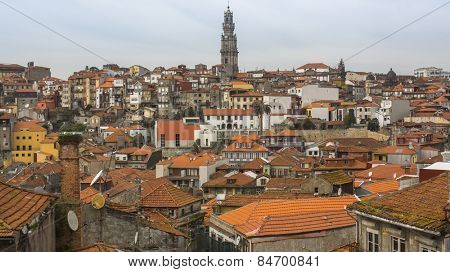 Top view on the Old town of Porto, Portugal.