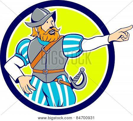 Spanish Conquistador Pointing Cartoon Circle