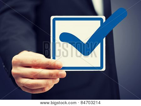 picture or closeup of checkbox and blue mark in it