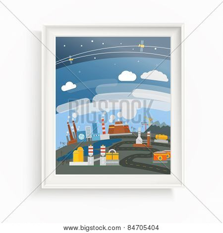 Modern heavy industry illustration. The picture on the wall