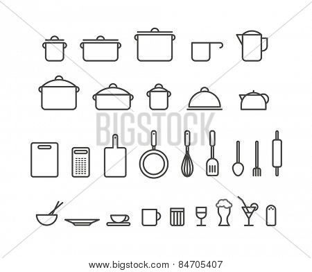 Kitchen tools silhouette icons collection. Design elements