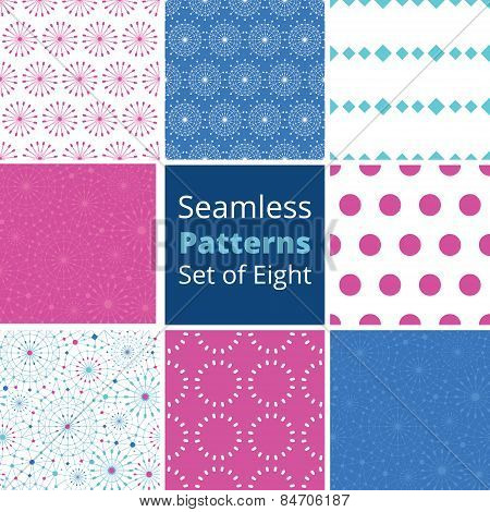 Vector blue abstract line art circles set of eight matching colorful seamless patterns backgrounds