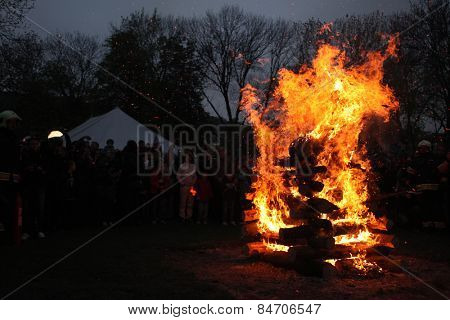 PRAGUE, CZECH REPUBLIC - APRIL 30, 2013: Burning of the Witches at Kampa Island at the Witches Night in Prague, Czech Republic.